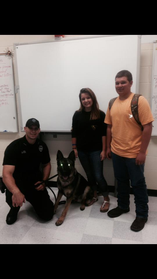 All agriculture students had the opportunity to hear about the day to day training, testing, and job requirements of a K-9 officer.