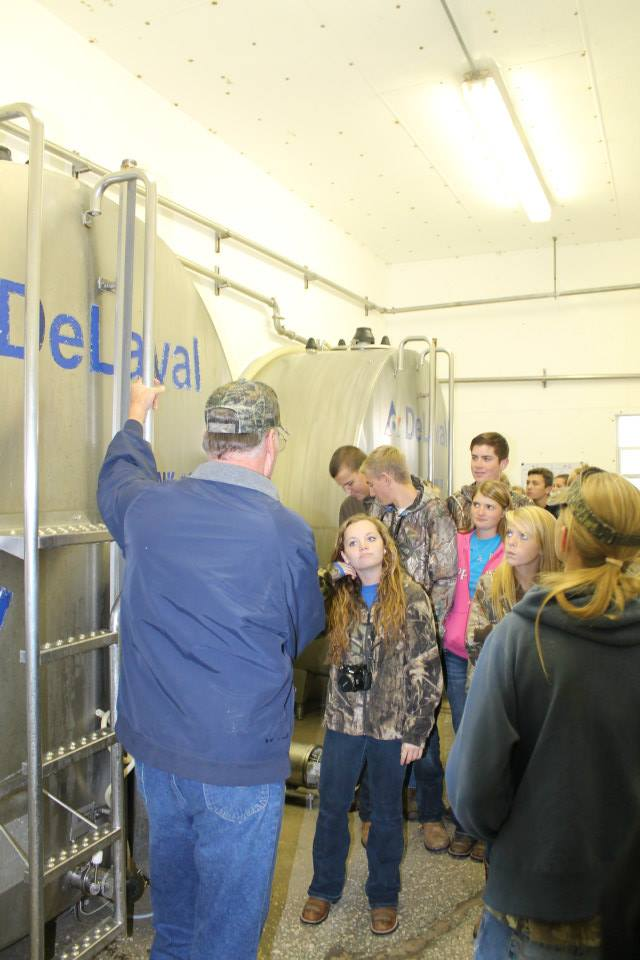 At the Pine Island Dairy Farm, students were able to see the entire dairy operation, from feeding and caring for the cows and calves, to growing the grains and hay, the milking parlor, and finally, the cooling tanks.  The students were able to see how much milk the cows produce on a daily basis, and what the raw product looks like.