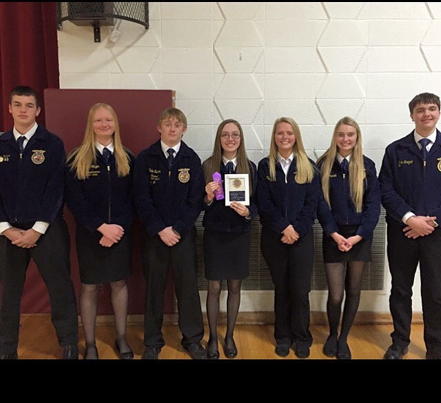 The district champion Jr. Parliamentary Procedure team included members (from left to right): Taylor Nelson, Amber Heyen, Duke Nelson, Miranda Hornung, Hailey Hula, Holly Komenda, and Kale Strizek. The team qualified for the state competition in April 2016. The scores were formulated from the demonstration evaluation and the test scores. The Sr. Parliamentary Procedure team placed second and qualified for state, as did Jr. Public Speaking contestant, Miranda Hornung. The Jr. High Ag Quiz Bowl team placed first and qualified for the state contest.