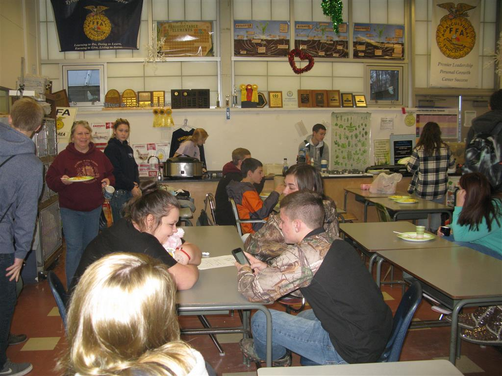 "Throughout the year, the chapter officers thanked the agricultural education students and teachers for their hard work in their committees and events conducted each marking period.  In January, the chapter hosted a pancake and egg breakfast for all agricultural education students (affiliate membership).  The officers are also demonstrating the FFA motto, ""Living to Serve.""  Role modeling how a simple act of kindness can make a great impression on someone"
