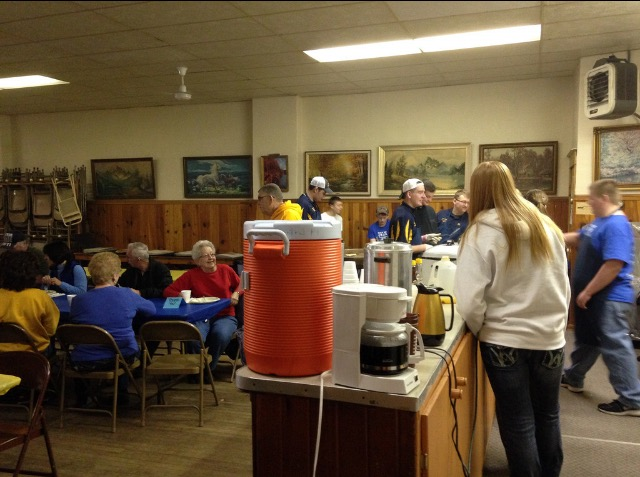 Our chapter hosts a breakfast on the Saturday of National FFA Week for our alumni chapter.  This was our second annual breakfast in Valparaiso and we had a turn out of 75 alumni or community members.  Our chapter had 20 members help with the set up, serving and clean up of the breakfast.