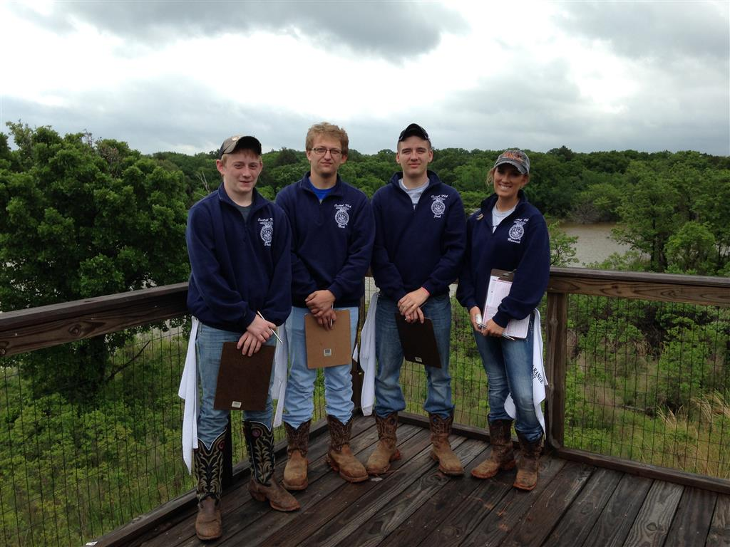 The Central FFA land judging team, Duke Nelson, Nick Nelson, Josh Hornung, and Hannah Settje, traveled to Oklahoma for the National competition. While there, the group visited the National Western Heritage Museum and competed in the all day event.