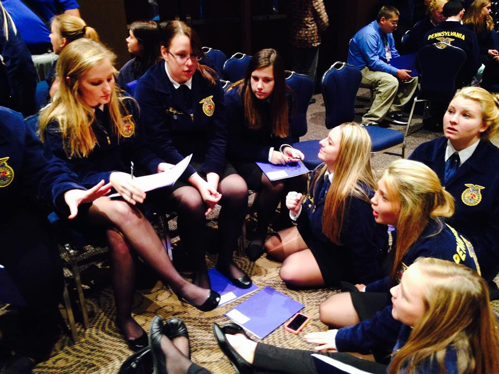 During the Fall Leadership Conference the Tyrone Area FFA Members were given an opportunity to work as a team to complete the Learning to Serve plan for the chapter.  The thirty-three students who were selected to attend the conference ranged from first year members to seniors.  They also returned to school and shared their experiences during their Agricultural Education courses to not only promote the conference, but to demonstrate what they gained in leadership abilities by participating.