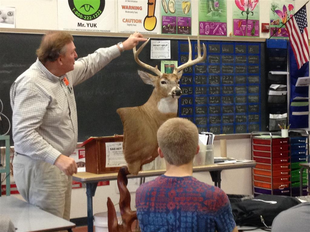 John Czerniakowski of Seven Mountains Taxidermy shows aspects of the Iowa Whitetail Deer he mounted for competition.  He shared his personal story of how he started as a teenager and now does it as a full-time hobby/business.  The speaker series is a great way to take a field trip without leaving the classroom.  It allows our members to see the many careers associated with agriculture and also hear from experts in the industry.  This year
