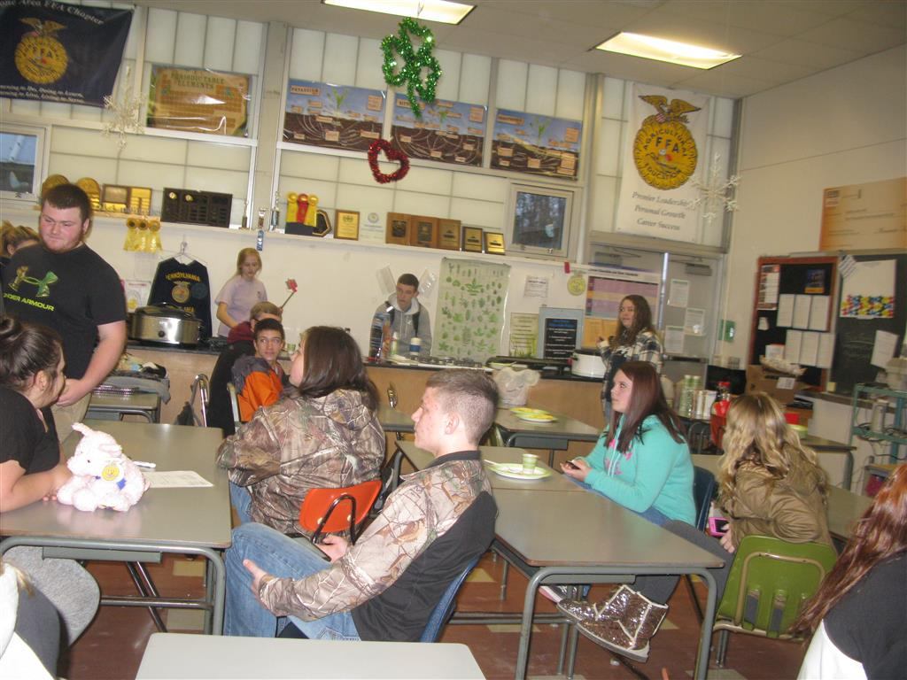"""The FFA Officer thanks the members by hosting a breakfast before school started.  The officer prepared the entire menu, arrived early and cooked all of the food.  The room was filled to capacity and members rotated in and out during the half hour time frame so everyone could enjoy the gratitude the officers have for the chapters members.  One member commented, """"It feels like I"""