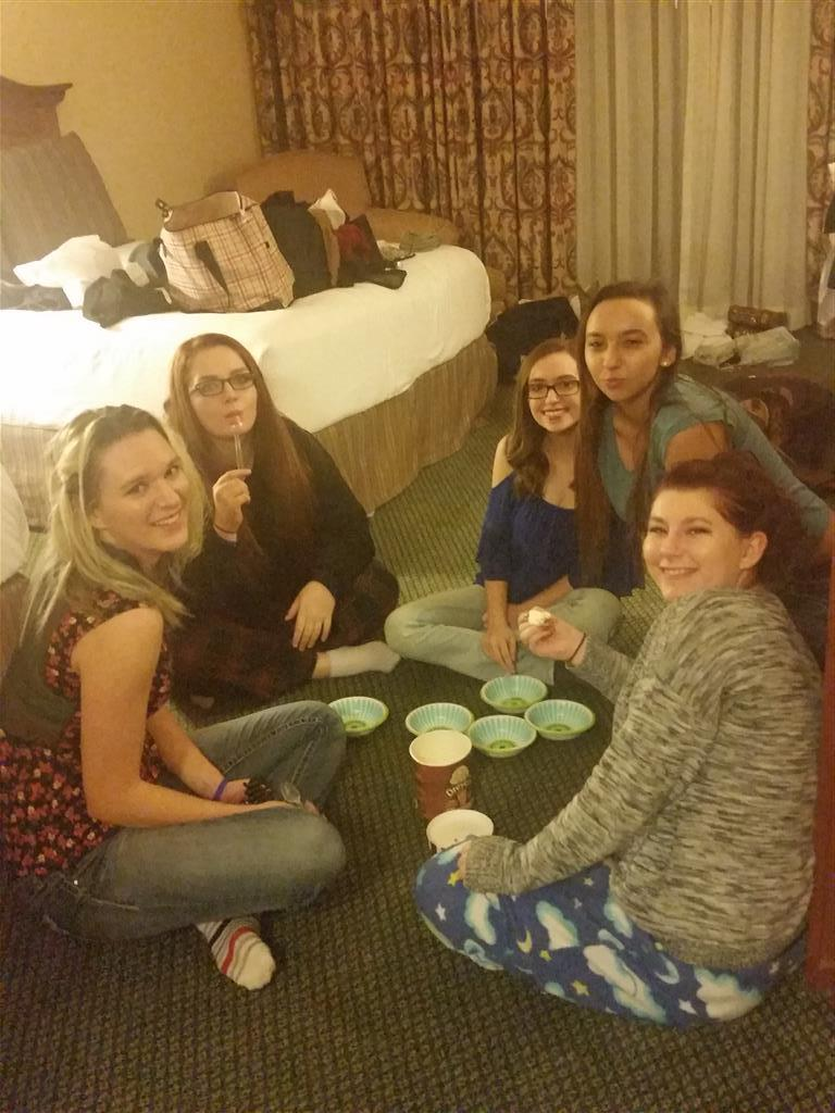 Ice cream is usually a part of the conferences.  Sheridan Mullen, Kathryn Wharton, Sharianne Jackson, Kaylyn Hogan, and Katalina Freeman.